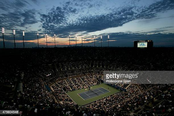 A general view of the Arthur Ashe Stadium during day four of the US Open at the USTA Billie Jean King National Tennis Centre on August 31 2006 in...