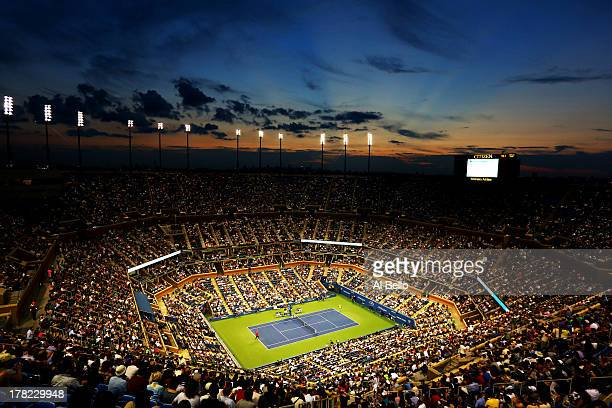 A general view of the Arthur Ashe Stadium during the men's singles first round match between Novak Djokovic of Serbia and Ricardas Berankis of...