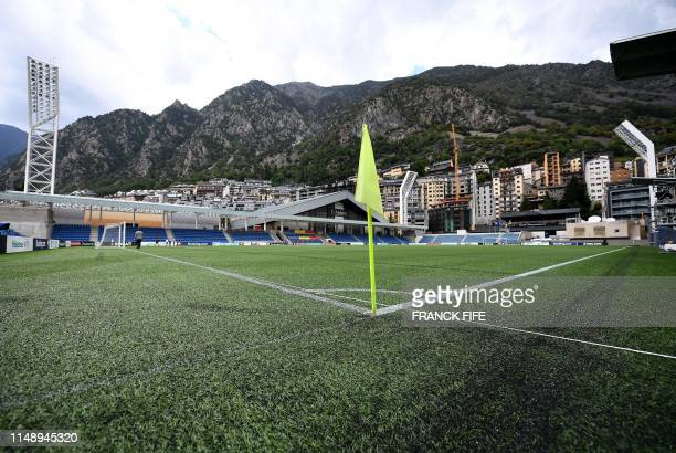 General view of the artificial pitch at the National stadium in Andorra La Vella, on June 10, 2019 on the eve of the UEFA Euro 2020 qualification...