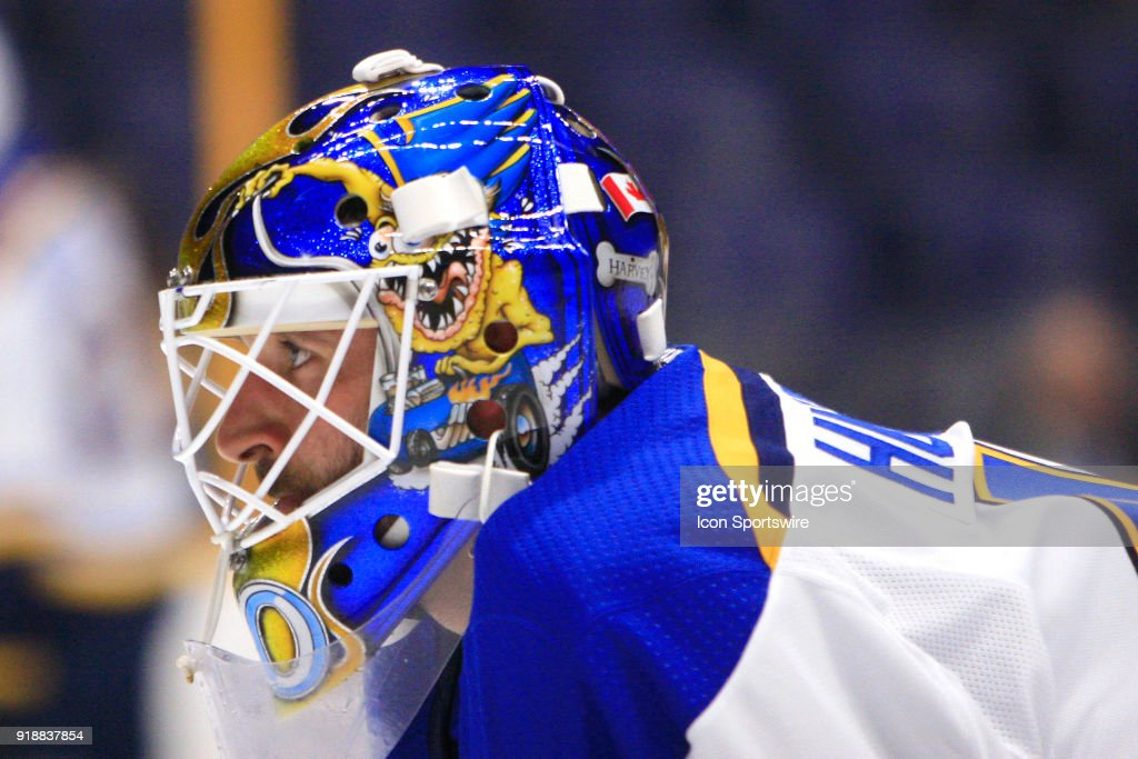 A general view of the artwork on the mask of St. Louis Blues goalie Carter Hutton (40) is shown prior to the NHL game between the Nashville Predators and the St. Louis Blues, held on February 13, 2018, at Bridgestone Arena in Nashville, Tennessee.