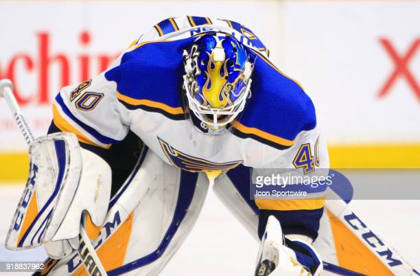 A general view of the artwork on the top of the mask of St Louis Blues goalie Carter Hutton is shown prior to the NHL game between the Nashville...