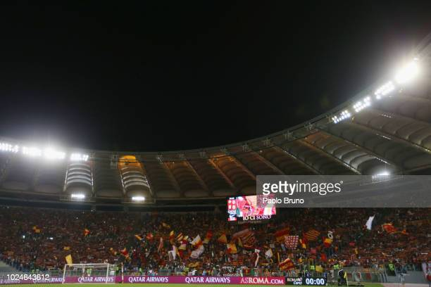 A general view of the AS Roma fans during the Serie A match between AS Roma and Atalanta BC at Stadio Olimpico on August 27 2018 in Rome Italy