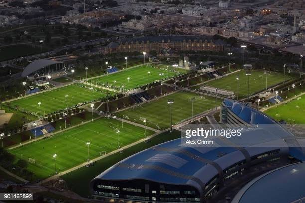 A general view of the ASPIRE Academy for Sports Excellence on day 3 of the FC Bayern Muenchen training camp on January 4 2018 in Doha Qatar