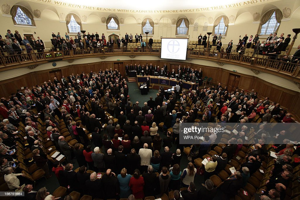 A general view of the Assembly Hall of Church House during a meeting of the General Synod of the Church of England on November 20, 2012 in London, England. The Church of England's governing body, known as the General Synod, will later today vote on whether to allow women to become bishops.