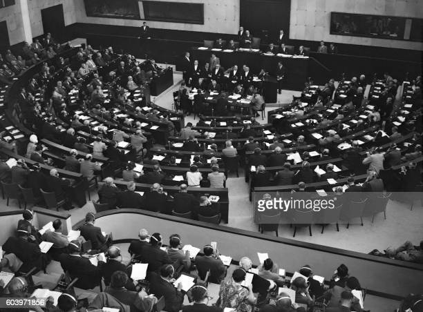 General view of the assembly of the Council of Europe in August 1950 in Strasbourg.
