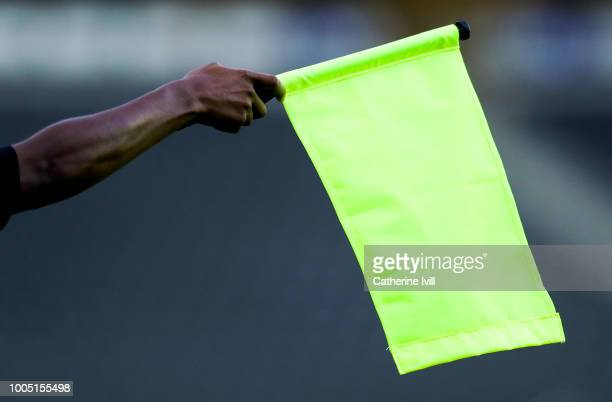 General view of the assistant referee holding up the flag during the Pre Season Friendly between Milton Keynes Dons and Ipswich Town at StadiumMK on...