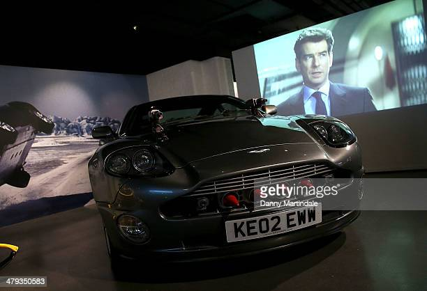 General view of the Aston Martin Vanquish from the film The World Is Not Enough at a photocall ahead of the opening of the Bond In Motion exhibition...