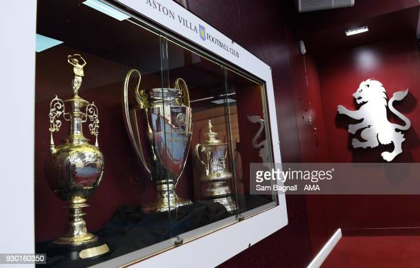 A general view of the Aston Villa trophy cabinet during the Sky Bet Championship match between Aston Villa and Wolverhampton Wanderers at Villa Park...