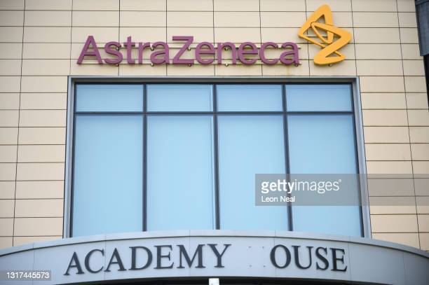 """General view of the AstraZeneca offices after members of a group called """"The People's Vaccine"""" protested outside the headquarters, calling for the..."""