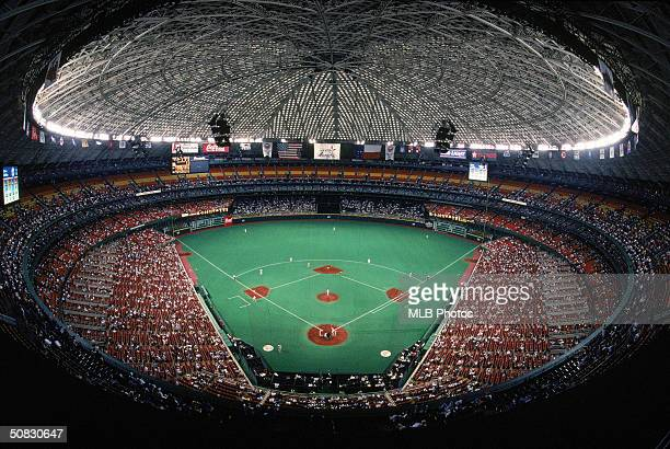 A general view of the Astrodome during a Houston Astros game on May 16 1995 in Houston Texas