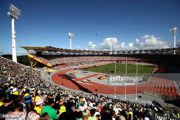A general view of the athletics on day four of the Gold Coast 2018 Commonwealth Games at Carrara Stadium on April 8 2018 on the Gold Coast Australia