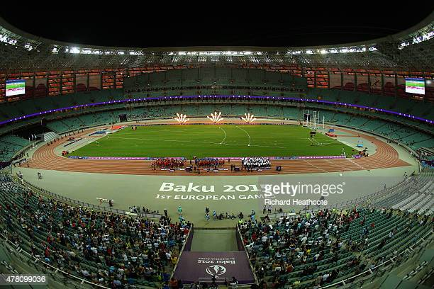 General view of the Athletics Team Championship medal ceremony during day ten of the Baku 2015 European Games at the Olympic Stadium on June 22, 2015...