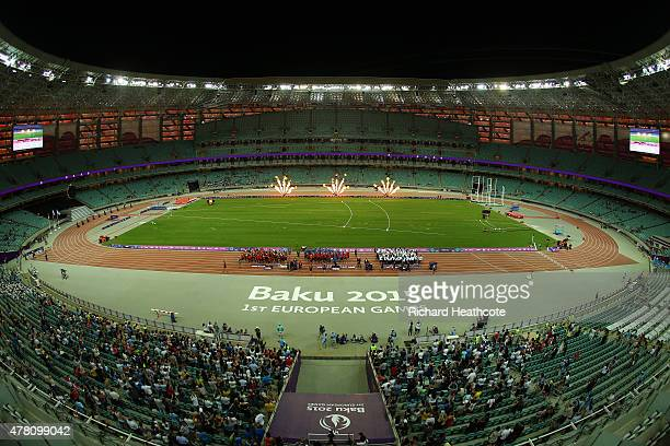 A general view of the Athletics Team Championship medal ceremony during day ten of the Baku 2015 European Games at the Olympic Stadium on June 22...