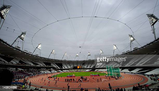A general view of the athletics track during the BUCS Outdoor Athletics Championships a part of the London Prepares series of test events at the...