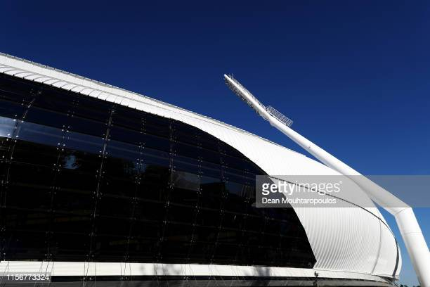 A general view of the athletics venue held in the Dinamo National Olympic Stadium prior to the hosting of the second European Games on June 18 2019...