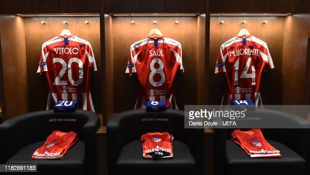 General view of the Atletico Madrid dressing room ahead of the UEFA Champions League group D match between Atletico Madrid and Bayer Leverkusen at...