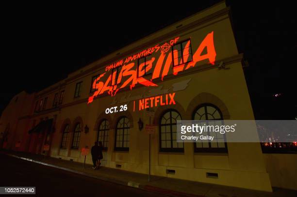 A general view of the atmopshere during Netflix Original Series Chilling Adventures of Sabrina red carpet and premiere event on October 19 2018 in...