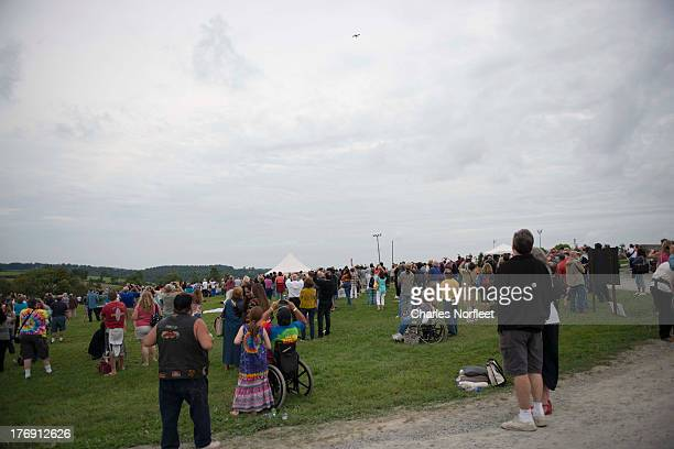 A general view of the atmosphere as plane spreads ashes of Richie Haven during the Richie Havens Memorial Celebration and Aerial Scattering of Ashes...