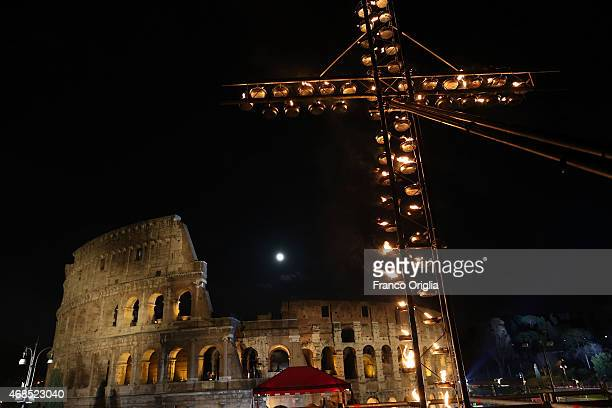 A general view of the atmosphere as Pope Francis leads the Way of The Cross at the Colosseum on April 3 2015 in Rome Italy The Way of the Cross is a...