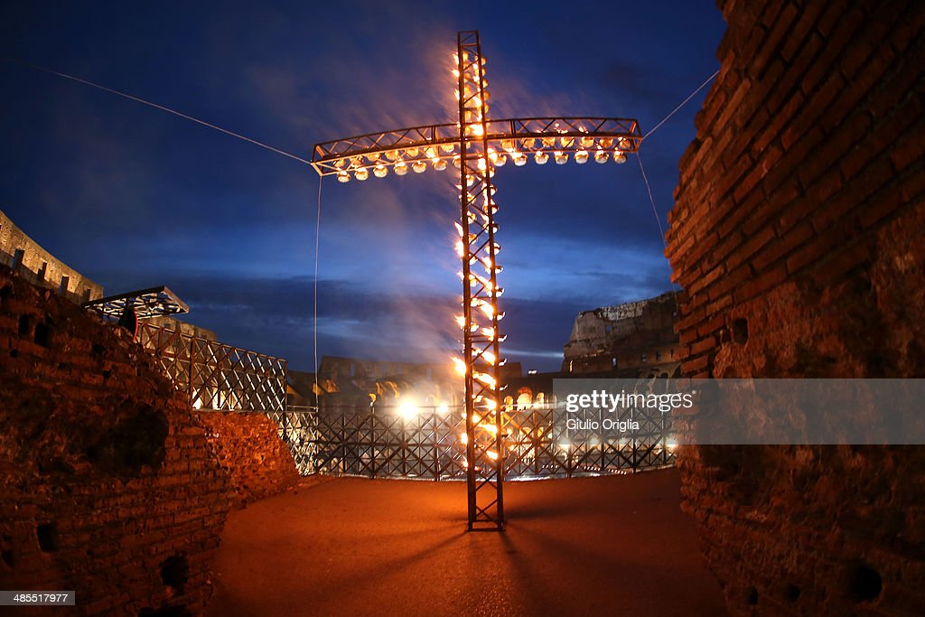 A general view of the atmosphere as Pope Francis leads the Way of The Cross at the Colosseum on April 18, 2014 in Rome, Italy. The Way of the Cross is a centuries-old and much beloved devotion, that began as a sort of spiritual pilgrimage to the places and scenes and events of ChristÕs passion for those who could not make the pilgrimage to the Holy Land in person, as well as for those who had made it and wished to relive their experience, and for those who were preparing for the journey.