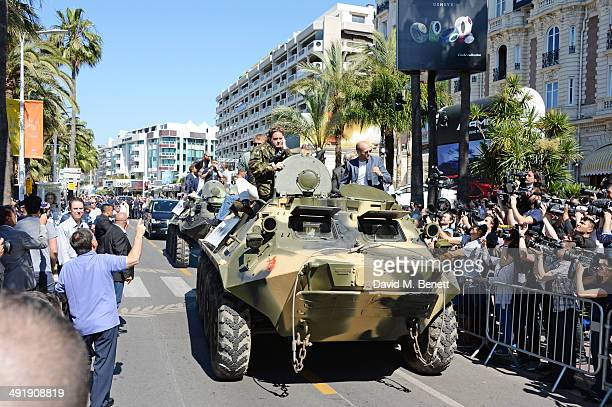 A general view of the atmosphere as the cast arrives at a photocall for 'The Expendables 3' at the Carlton Hotel on May 18 2014 in Cannes France
