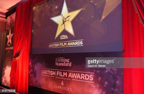 A general view of the atmosphere at a drinks reception at the London Evening Standard British Film Awards 2018 at Claridge's Hotel on February 8 2018...