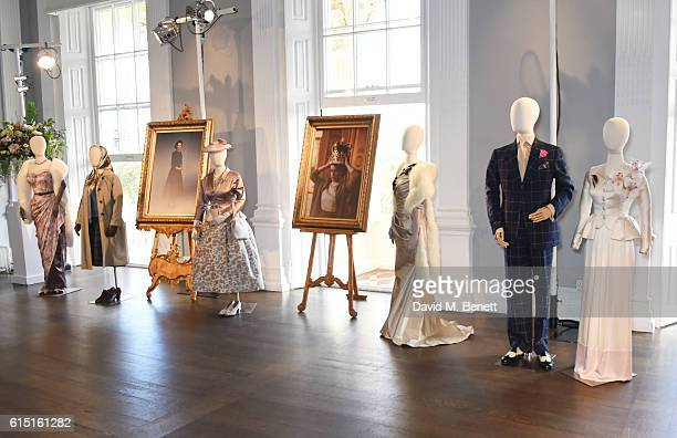 A general view of the atmosphere at a presentation featuring costumes from new Netflix Original series 'The Crown' with designer Michele Clapton at...