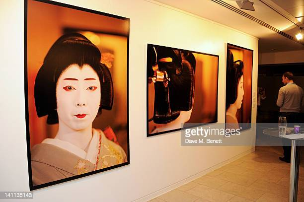 A general view of the atmosphere at a private view of 'Kabuki One Year On' a photographic exhibition by Frederic Aranda to benefit the Japan Society...
