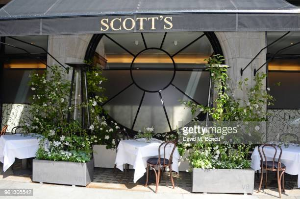 A general view of the atmosphere at a VIP breakfast hosted by Victoria Beckham to celebrate the launch of the Scott's summer terrace which she...