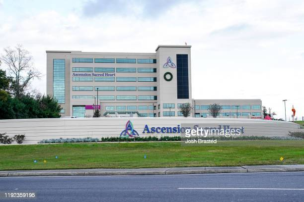 General view of the atmosphere at Ascension Sacred Heart Hospital following a shooting at the Naval Air Station on December 06, 2019 in Pensacola,...