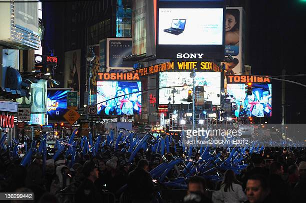 General view of the atmosphere at Dick Clark's New Year's Rockin' Eve with Ryan Seacrest 2012 at Times Square on December 31 2011 in New York City