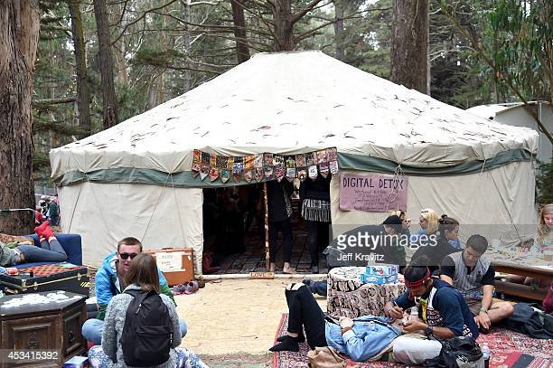 General view of the atmosphere at Digital Detox Analog Zone during day 2 of the 2014 Outside Lands Music and Arts Festival at Golden Gate Park on...