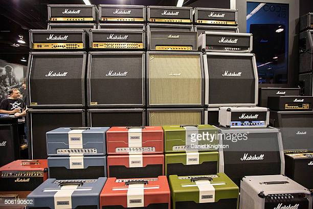 General view of the atmosphere at Marshall Amplifiers booth at NAMM Show Day 1 at Anaheim Convention Center on January 21 2016 in Anaheim California