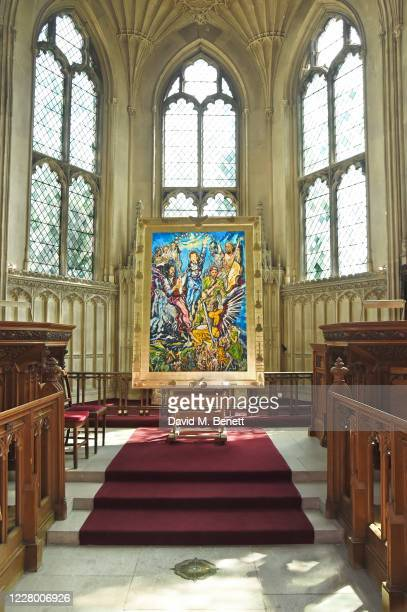 A general view of the atmosphere at new art exhibition Ronnie Wood x Ashridge House which runs from August 2127 at Ashridge House on August 11 2020...