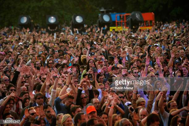 General view of the atmosphere at the 2013 Global Citizen Festival in Central Park to end extreme poverty on September 28 2013 in New York United...