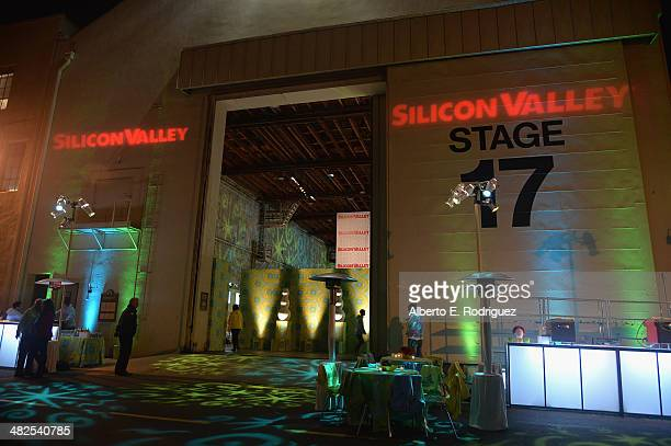 A general view of the atmosphere at the after party for the Premiere of HBO's 'Silicon Valley' at Paramount Studios on April 3 2014 in Hollywood...