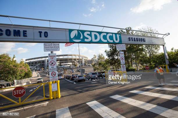 General view of the atmosphere at the entrance to the newly renamed SDCCU Stadium on the final night of U2 The Joshua Tree Tour 2017 at SDCCU Stadium...