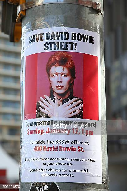 A general view of the atmosphere at the intersection where Bowie street was changed to 'David Bowie Street' by Jason Carter and Managing Director of...