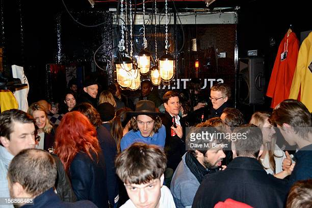 A general view of the atmosphere at the launch of the Stutterheim Raincoats pop up shop in Shoreditch on November 22 2012 in London England