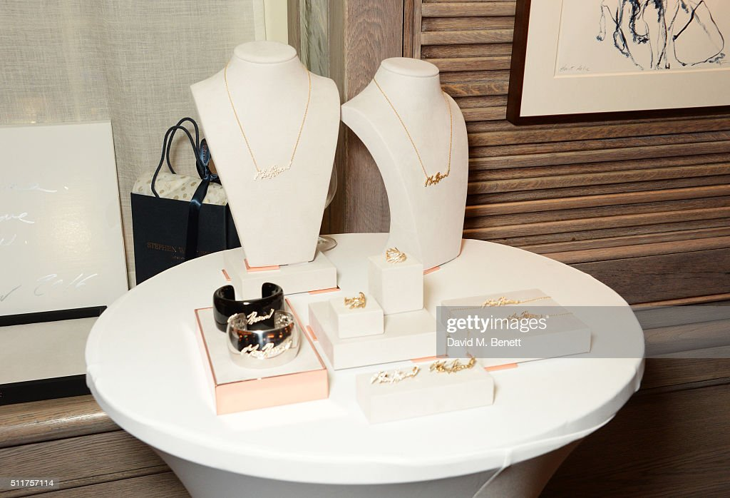 A general view of the atmosphere at the launch of Tracey Emin and Stephen Webster's new jewellery collection 'I Promise To Love You' at 34 Grosvenor Square on February 22, 2016 in London, England.