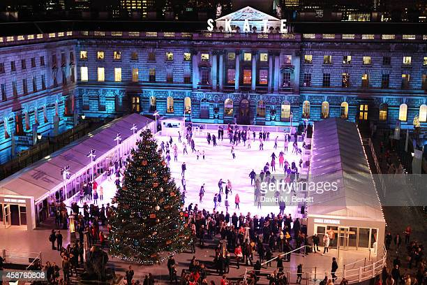 General view of the atmosphere at the opening party of Skate at Somerset House with Fortnum & Mason at Somerset House on November 10, 2014 in London,...