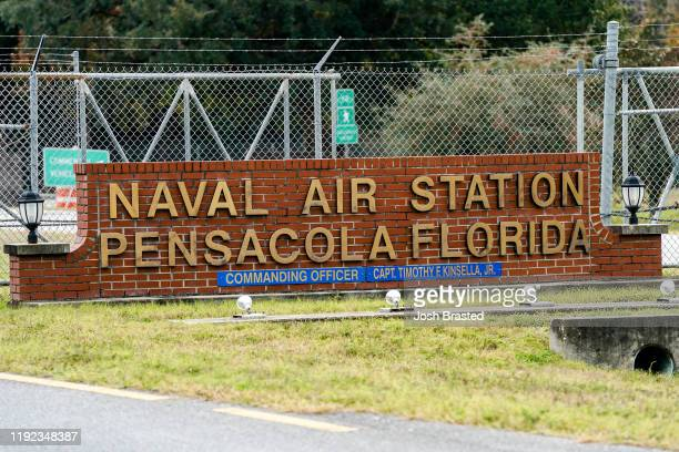 General view of the atmosphere at the Pensacola Naval Air Station following a shooting on December 06, 2019 in Pensacola, Florida. The second...