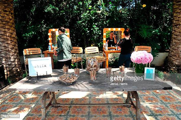A general view of the atmosphere at the Stila Makeup booth at Alison Brod Public Relations Los Angeles Summer Style Event on June 15 2011 in Beverly...