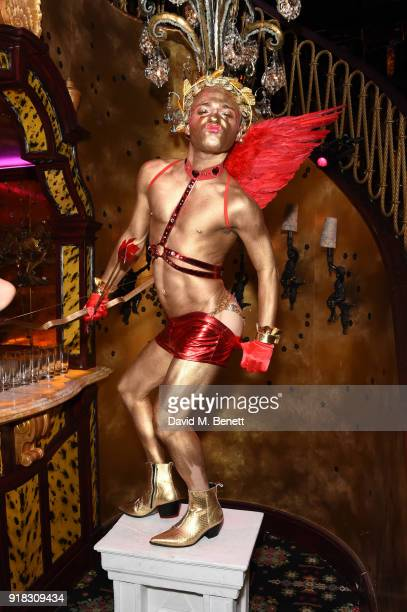 A general view of the atmosphere at the 'Valentines is a Drag' party in association with the dating app Bumble at Loulou's on February 14 2018 in...