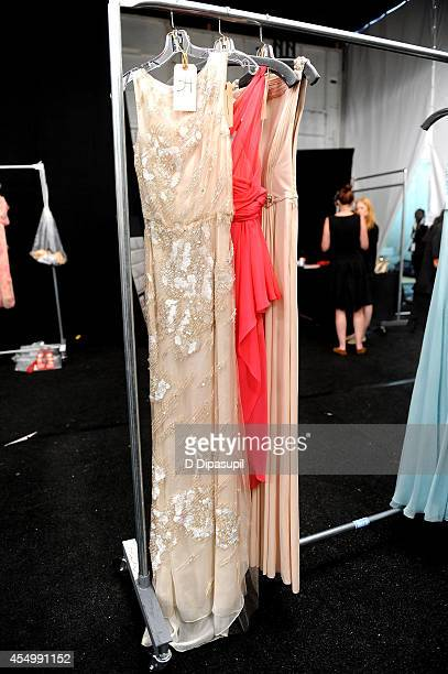 A general view of the atmosphere backstage at the Reem Acra fashion show during MercedesBenz Fashion Week Spring 2015 at The Salon at Lincoln Center...