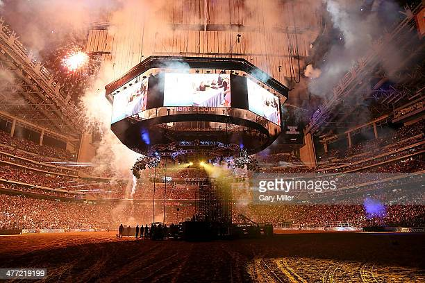 A general view of the atmosphere before Usher performs in concert during the Houston Livestock Show And Rodeo at Reliant Park on March 7 2014 in...