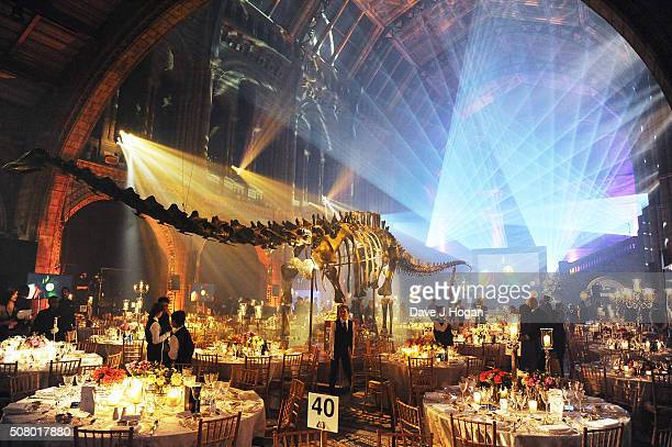 A general view of the atmosphere during a reception and dinner for supporters of The British Asian Trust at Natural History Museum on February 2 2016...
