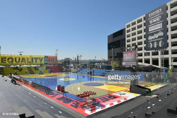 A general view of the atmosphere during adidas Creates 747 Warehouse St an event in basketball culture on February 16 2018 in Los Angeles California