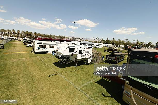 General view of the atmosphere during day 1 of the 2013 Coachella Valley Music Arts Festival at the Empire Polo Club on April 12 2013 in Indio...