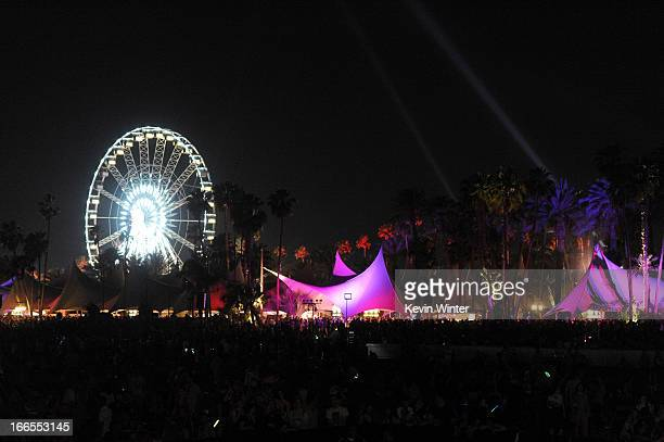 General view of the atmosphere during day 2 of the 2013 Coachella Valley Music Arts Festival at the Empire Polo Club on April 13 2013 in Indio...